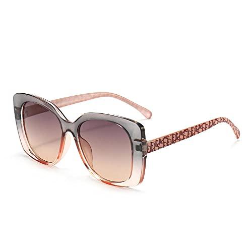 XDOUBAO Gafas de sol Gafas de sol Femeninas Gafas delgadas Personalidad Gafas de sol-Color foto_Té de pasto