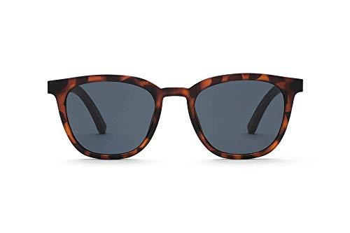 TAKE A SHOT Kleine Sonnenbrille aus Holz, Havanna Rahmen, blaue Gläser, Damen-Sonnenbrille, modisch besonders, Leomuster braun - ROB