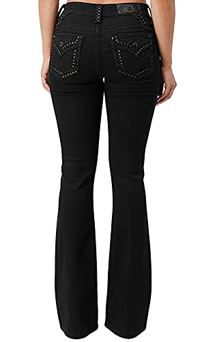 Miss Me Women's Mid-Rise Boot Jean with Tonal Heavy Stitch Border and Faux Flap Pockets (Black, 28)