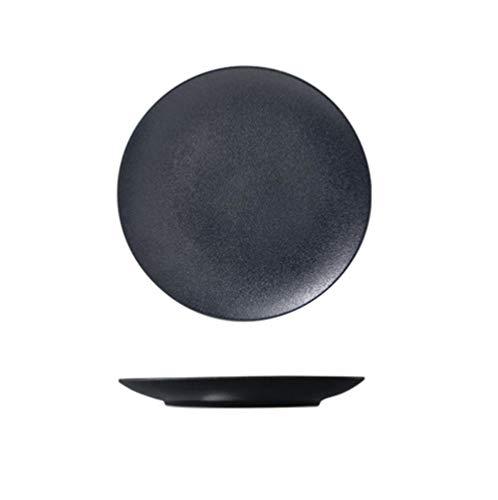 "HHXWU Platos Mate Negro Vajilla de cerámica Plato Occidental 10""Plato de Ensalada Plato de Filete Mate Negro 10"""