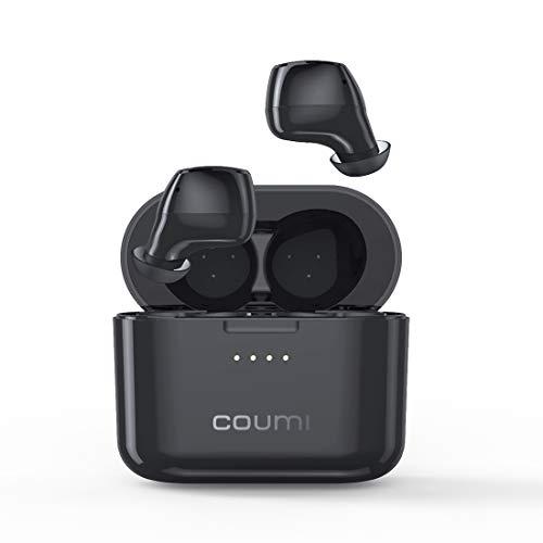COUMI TWS Bluetooth Kopfhörer, Kabellose Kopfhörer mit Premium Klangprofil mit intensivem Bass, IPX7 Wasserschutzklasse, Bequemer Halt, Bluetooth 5.0 (Schwarz)