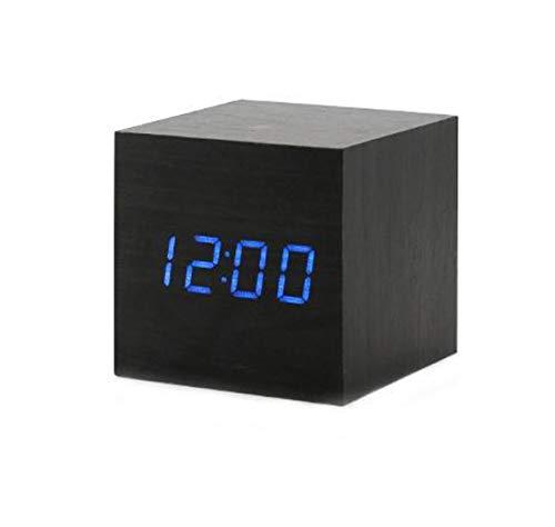 ThreeH Despertador Digital de Madera, pequeño Reloj cúbico con Pantalla de Calendario de Tiempo de Temperatura LED, Reloj USB/Alimentado por batería para Oficina en casa AC10 Azul Negro