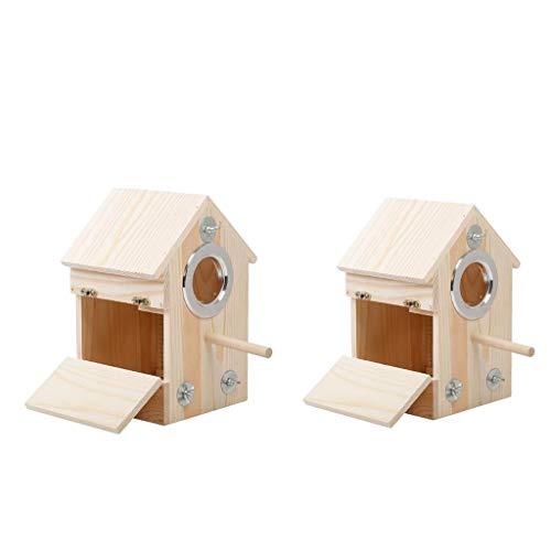 LOVIVER 2pcs Multi Nistkasten I Vogelhaus Holz I Nistkästen für Blaumeise, Kohlmeise, Haubenmeise, Rattenfänger, Fliegenfänger