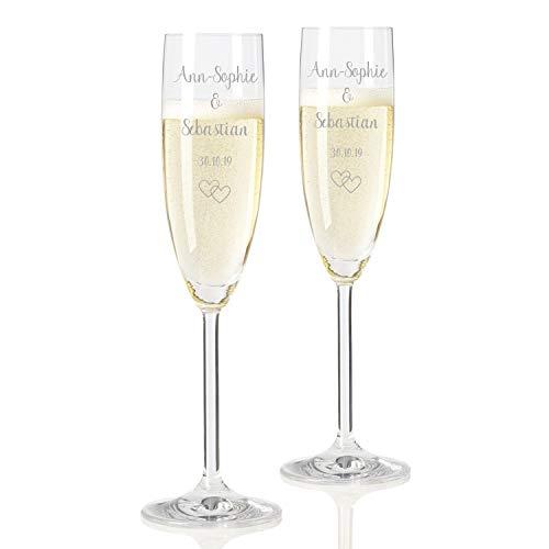 Geschenke.de Leonardo Sektgläser mit Gravur Namen und Herzen - Geschenk zur Hochzeit und Valentinstag, 2er-Set