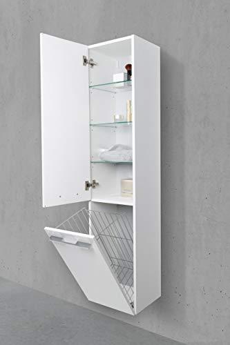 Intarbad ~ Badschrank mit Wäschekippe Hochschrank H/B/T: 161,6/40/32,5cm Weiß Hochglanz Lack Carini Nussbaum IB1112