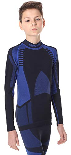 Ladeheid Camiseta Térmica Mangas Largas Ropa Interior Unisexo Niños LASS0008 (Negro/Azul Oscuro, 146-152)