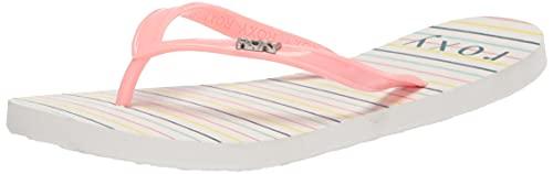 Roxy Girls RG Viva Stamp Flip Flop Sandal, White/Multi Monogram 212, 4 Big Kid