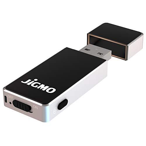 Microphone Enregistrement Voix avec USB - par JiGMO [Argent], Avec Indicateur de Batterie, Activation Vocale, Enregistreur Audio Portable - Capacité: 8 Go, 36 heures, 512 kbp, Avec un E-Book