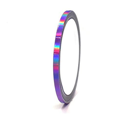 "Finest Folia Vinyl Stripe Holograph Tape Pinstriping Striping Sticker 33ft Car Motorcycle Bike RC Car Truck Boat Decal (Hologram Purple, 0,196"")"