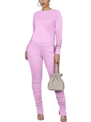 Women's Stacked Sweat Suits 2 Pc Set Two Pice Outfits Ruched Long Sleeve Sweatshirts + Skinny Pants Lavender Medium