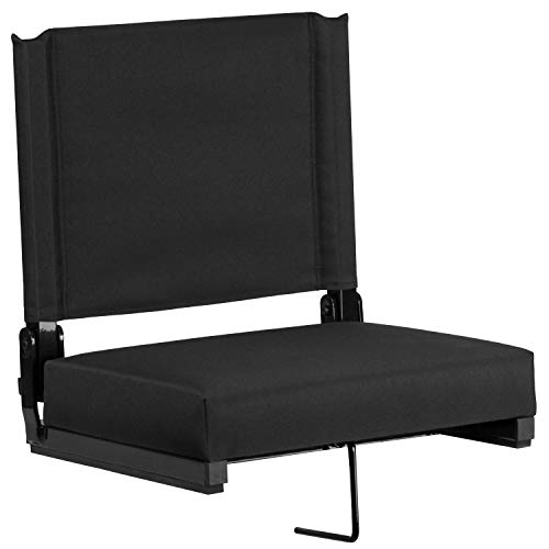 Flash Furniture Grandstand Comfort Seats by Flash - 500 lb. Rated Lightweight Stadium Chair with Handle & Ultra-Padded Seat, Black