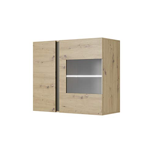 MOEBLO Vitrine Hängend für Wohnzimmer Skandinavisch mit Glastüren und LED Beleuchtung - Weiß Hochglanz + Eiche/Eiche + Grau- Salta D (Eiche Artisan + Grau)