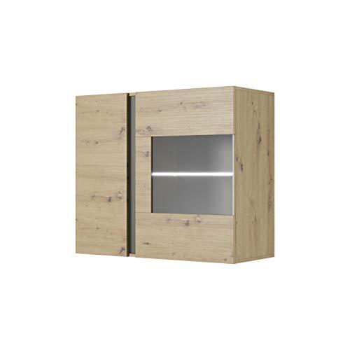 MOEBLO Vitrine Hängend für Wohnzimmer Skandinavisch mit Glastüren und LED Beleuchtung - Weiß...