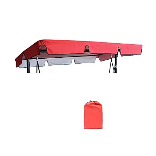 POHOVE Cubierta para dosel de columpio, de repuesto, para asiento de columpio Waterproo f/U V Resistan t Porch Top Cover con bolsa de almacenamiento para patio (rojo, tamaño: 190 x 132 x 15 cm)