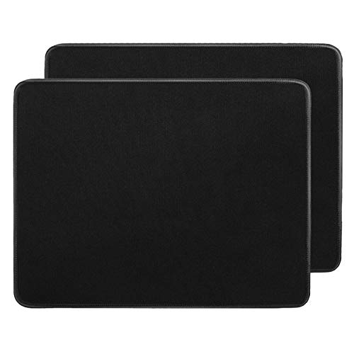 RiaTech 2 Pack (250mm x 210mm x 2mm) Mouse Pad, Water Resistance Coating Natural Rubber Gaming Mouse Pad with Stitched Embroidery Edges & Non-Slippery Rubber Base - Black with Black Border