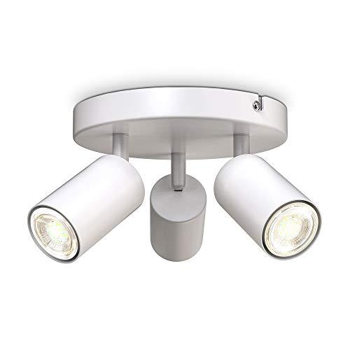 B.K.Licht I 3-flammige Spotlampe rund I schwenkbar I drehbar I GU10 I Weiß I ohne Leuchtmittel