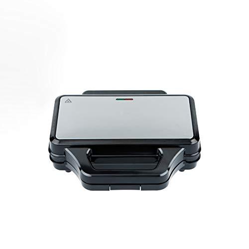 Zoomyo XXL Sandwichtoaster, mit Antihaft beschichteten Platten in Muschelform, einfache Bedienung mit Temperaturkontrollleuchte, 900 Watt Leistung, Farbe: schwarz-silber (Schwarz-Silber)