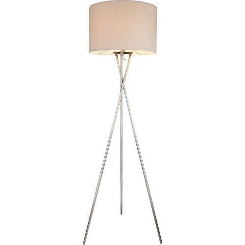 GLOBO Vloerlamp GUSTAV nikkel wit 24685N