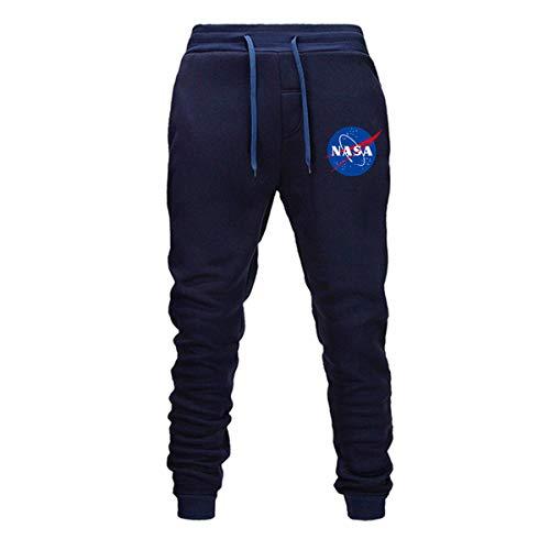 HBBDYZ NASA Pantaloni Uomo Coulisse Pantalone Tuta Ragazzo Sportive Running Jogging Pantaloni Uomini Slim Fit Sportivi Leggeri Pantaloni Tute da Allenamento Ginnastica Trekking,Blu,M