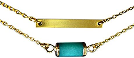 18K Gold Plated Layered Necklace with Jade -Blue- Collier Multirangs Plaqué Or