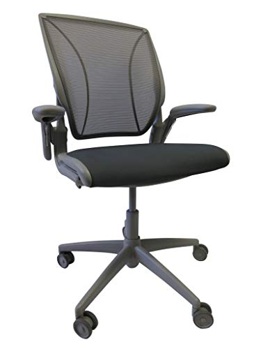 Humanscale Diffrient World Task Chair | Gray Pinstripe Mesh Back and Lotus Hematite Seat | Grey Frame | Height-Adjustable Duron Arms | Standard Foam Seat, 3' Carpet Casters, and 5' Cylinder