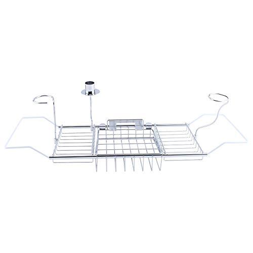 XLLF Support de baignoire en métal avec support de baignoire pour tablette ou téléphone portable en verre de vin
