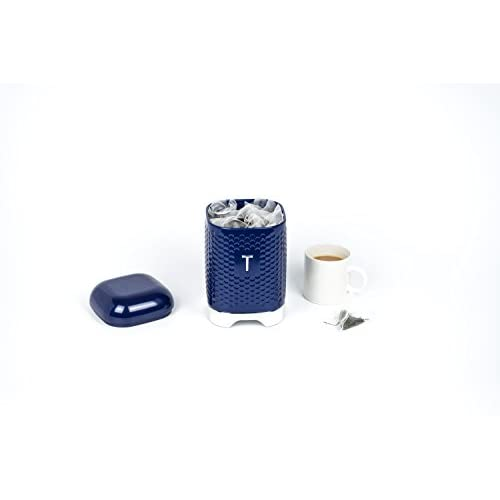 KitchenCraft Lovello Textured Tea Caddy - Midnight Navy