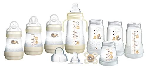 MAM Easy Start Self Sterilising Anti Colic Starter Set, Newborn Bottle Set and Soother, Newborn Essentials, White (Designs May Vary)
