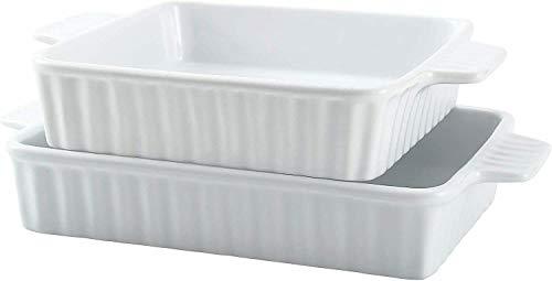 Ceramic Bakeware Set of 2 Rectangular Lasagna Pan Dish 2 Sizes White Baking supplies Kitchen accessories Cookie sheet Dish set Baking pan Bakeware sets Muffin pan Cake pan Baking pans
