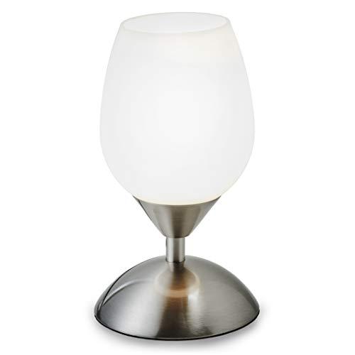 B.K.Licht Lampada da comodino, forma a tulipano, interruttore touch, luce da tavolo dimmerabile per l'illuminazione da interno, metallo cromato e vetro bianco, attacco per lampadina E14 (non incusa)