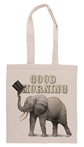 Luxogo Good Morning Einkaufstasche Groceries Beige Shopping Bag