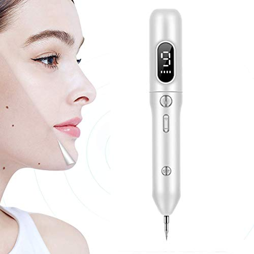 CGBF moedermal remover stift Mole verwijderaar wratten verwijderen, 9 instelbare modi & LED-weergave, verwisselbare needles, USB oplaadbaar, verwijdert freckles Moles Tattoos wit
