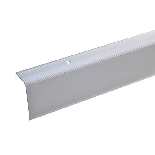acerto 38086 Aluminium Treppenwinkel-Profil - 100cm, 52x30mm, silber * Rutschhemmend * Robust * Leichte Montage | Treppenkanten-Profil, Treppenstufen-Profil aus Alu | Gelochtes Stufenkanten-Profil