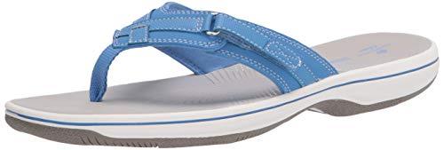 Clarks Women's Breeze Sea Flip-Flop, Blue Synthetic, 10