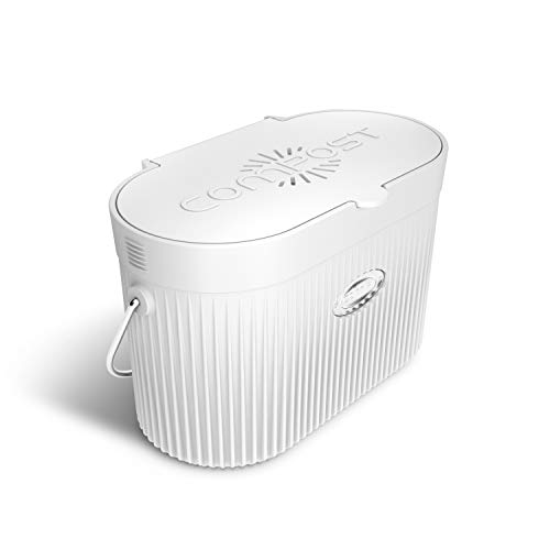 Bamboo Fiber Kitchen Compost Bin with Lid, 1.3 Gal, White - Odor-Free and Dishwasher Safe - Countertop Container Kitchenware with Flip-Up Lid and Carbon Filters