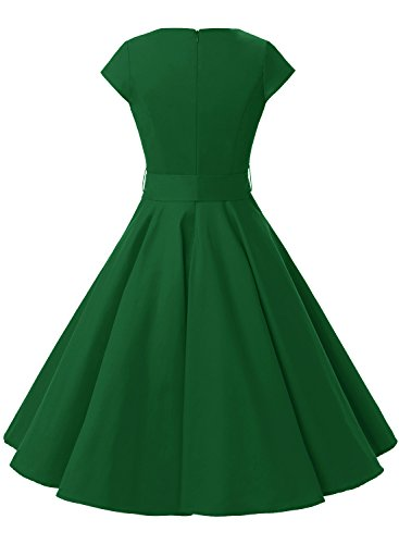 Dressystar DS1956 Women Vintage 1950s Retro Rockabilly Prom Dresses Cap-sleeve S Army Green