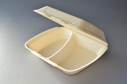 200 Stück Menüboxen IP4 2-geteilt Cream, Menüschalen Lunchboxen Imbissboxen Iso-Klappbox