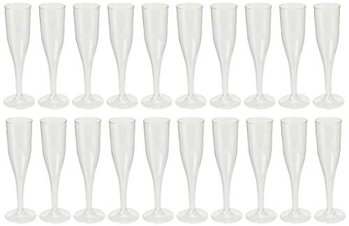 amscan 162 ML de 20 flûtes à Champagne en Plastique Transparent
