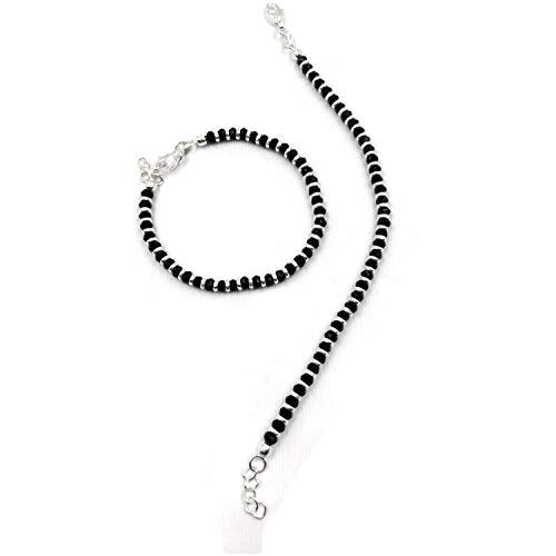 925 Sterling Silver New Born / Toddler Kids Black Beads Najariya - Style#20 (4.5 inch (0-6 mths))