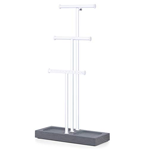 Love-KANKEI Jewelry Organizer Stand Metal & Wood Basic and Large Storage Necklaces Bracelets Earrings Holder Organizer White and Weathered Grey