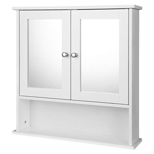EUGAD Mobiletto Pensile da Bagno con Specchio Salvaspazio Armadietto da Lavabo con Due Porte 56 * 13.5 * 58.5cm Bianco 0020WY