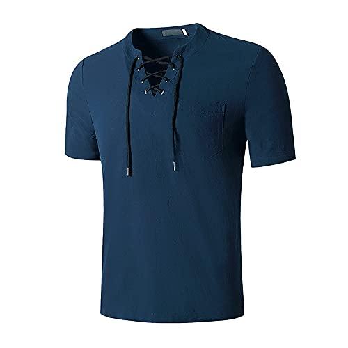 Shirt Hombre Verano Color Sólido Regular Fit Hombre Correr Shirt Moderna Manga Corta Deportiva Camisa Cordones Sin Cuello Shirt Jogging Wicking Transpirable Hombre Camiseta F-Blue XXL
