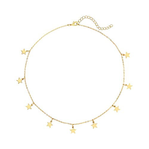 CHAFIN Star Necklace for Women Girls Star Choker Necklace Adjustable (Gold)