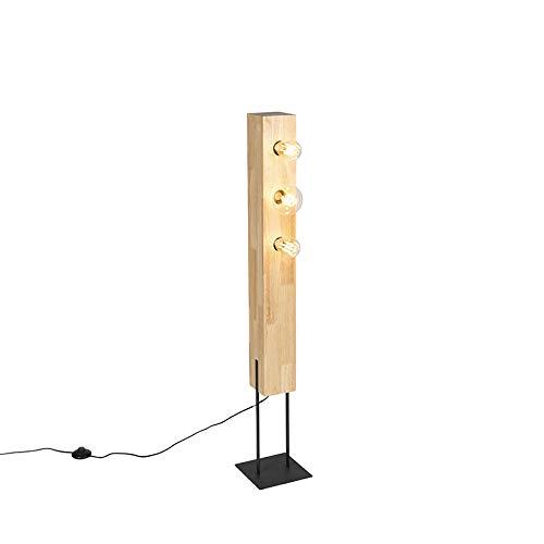 QAZQA Modern/Landhaus/Vintage/Rustikal Country Stehleuchte/Stehlampe/Standleuchte/Lampe/Leuchte schwarz mit 3-Licht Holz - Sema/Innenbeleuchtung/Wohnzimmerlampe/Schlafzimmer/Stahl