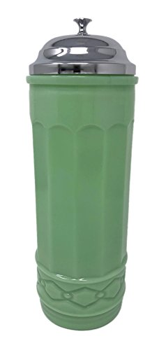 Rhyne and Son Straw Dispenser Holder with Metal Lid Reproduction Glass (Jadeite)