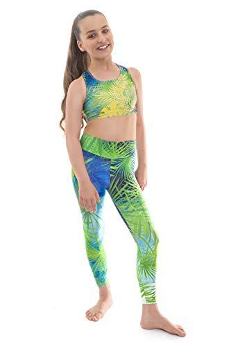 Ensemble haut court et legging pour filles Amazonian par Velocity Pro Sport - Idéal pour la gym, l'entraînement, la course à pied, l'été, la gymnastique, le yoga, vêtements décontractés (Amazonian, 9–10 ans)