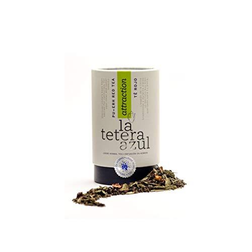 LA TETERA AZUL Premium Roter Tee Pu Erh Mit Hibiskus, Erdbeere, Kiwi Und Apfel. Abnehmen Infusion. Bulk Pot von 115 Gramm für 46 Infusionen.