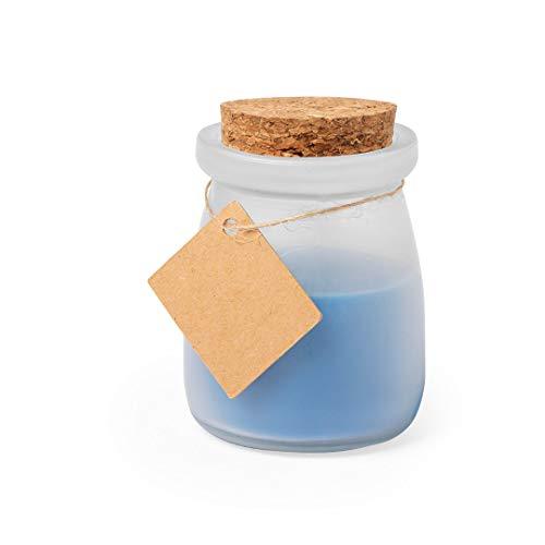 Lote 25 Tarros de Cristal con vela aromática OCEAN (azul). Velas baratas para bodas, bautizos, comuniones, eventos, fiestas.