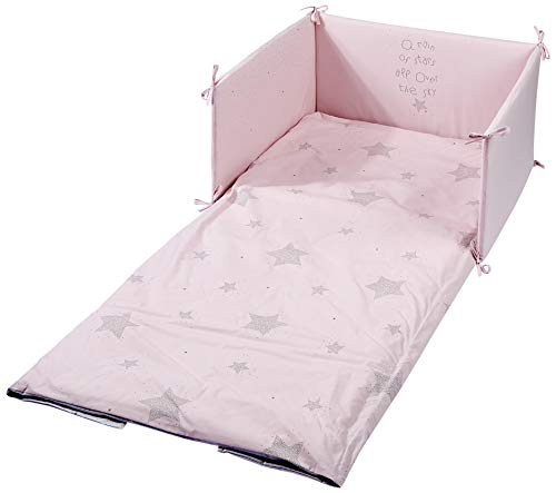 Petitpraia Etoile Tagesdecke + Nestchen für Kinderbett 70, Füllung inklusive, Rosa