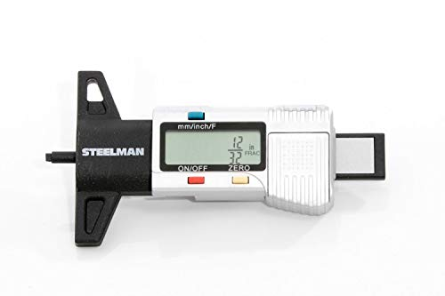 Steelman Digital Tire Tread Depth Gauge, 3 Modes - Fractional Inch, Decimal Inch, and Millimeter, Zeroable